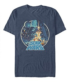 Star Wars Men's Classic Retro Circle Movie Poster Short Sleeve T-Shirt