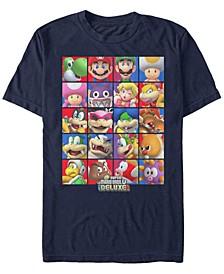 Men's Super Mario Deluxe Character Stack Short Sleeve T-Shirt