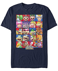 Nintendo Men's Super Mario Deluxe Character Stack Short Sleeve T-Shirt