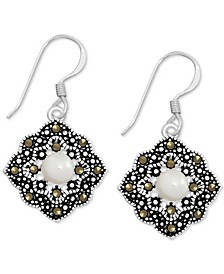 Genuine Swarovski Marcasite & Freshwater Pearl (5mm) Open Diamond-Shape Drop Earrings in Fine Silver-Plate