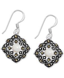 Genuine Swarovski Marcasite & Freshwater Pearl (5mm) Open Diamond-Shape Drop Earrings in Fine Silver-Plate