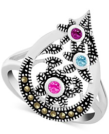 Genuine Swarovski Marcasite & Multicolor Crystal Openwork Ring in Fine Silver-Plate