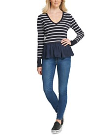 DKNY Striped Peplum-Hem Sweater