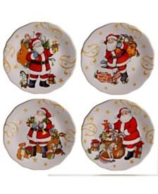 Certified International Vintage Santa 4-Pc. Dessert Plate