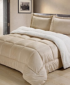 Ultimate Luxury Reversible Micromink and Sherpa Queen Bedding Comforter Set