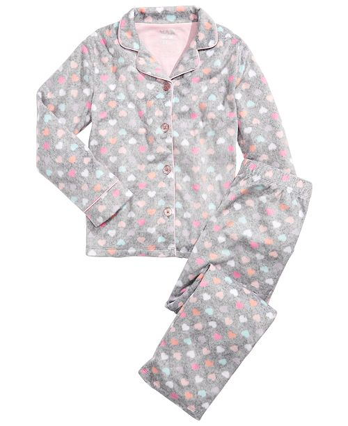 Max & Olivia Little & Big Girls  2-Pc. Heart-Print Pajamas Set