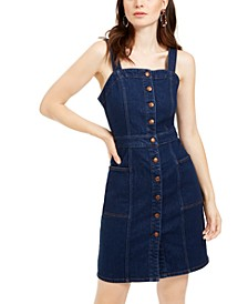 Fitted Button-Front Overall Dress
