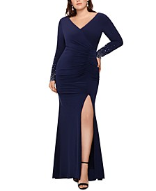 Plus Size Embellished-Sleeve Gown