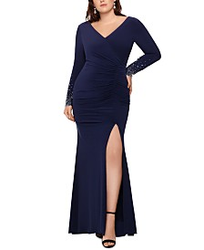 XSCAPE Plus Size Embellished-Sleeve Gown