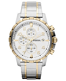 Fossil Men's Chronograph Dean Two-Tone Stainless Steel Bracelet Watch 45mm FS4795
