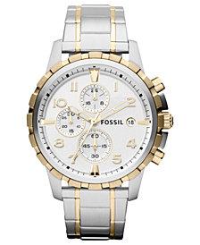 Fossil Men's Chronograph Dean Two-Tone Stainless Steel Bracelet Watch 45mm FS4795