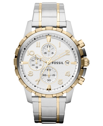 fossil fossil macy s fossil men s chronograph dean two tone stainless steel bracelet watch 45mm fs4795