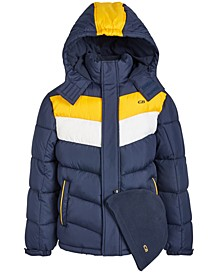 Little Boys 2-Pc. Colorblocked Puffer Jacket & Hat Set
