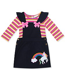 Rare Editions Baby Girls 2-Pc. Striped T-Shirt & Unicorn Corduroy Jumper Set
