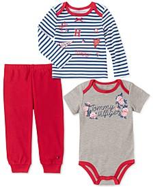 Baby Girls 3-Pc. Top, Bodysuit & Leggings Set