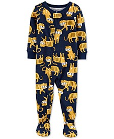 Toddler Boys 1-Pc. Tiger-Print Footed Pajamas