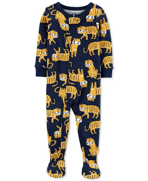 Carter's Toddler Boys 1-Pc. Tiger-Print Footed Pajamas