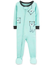 Toddler Boys 1-Pc. Striped Bear Footed Pajamas