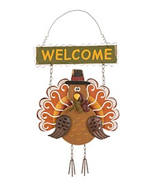 Iron/Wooden Turkey Welcome Wall Decor