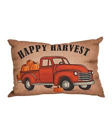 Glitzhome Faux Burlap Happy Harvest Truck Lumbar Pillow