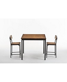 Americano Collection 3 Piece Counter Height Dining Set, Table and 2 Counter Stools