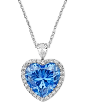 Vintage Style Jewelry, Retro Jewelry Arabella Sterling Silver Necklace Blue and White Swarovski Zirconia Heart Pendant 19-58 ct. t.w. $150.99 AT vintagedancer.com