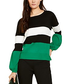 INC Petite Striped Puff Sleeve Sweater, Created for Macy's