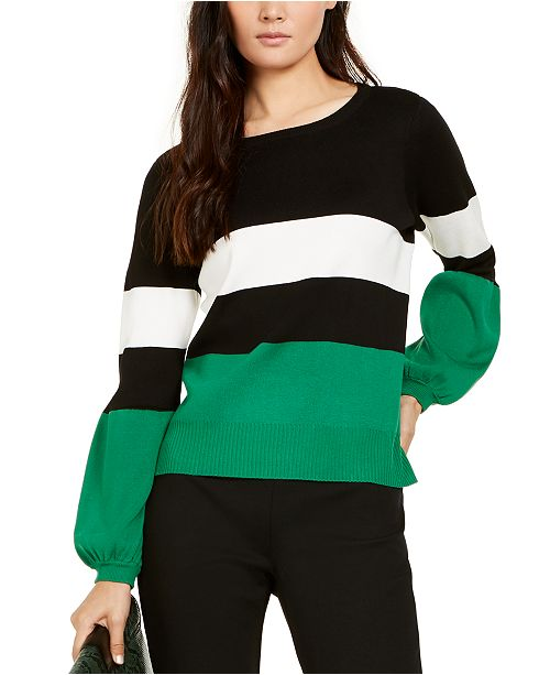 INC International Concepts INC Petite Striped Puff Sleeve Sweater, Created for Macy's