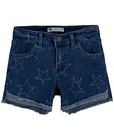 Big Girls Star-Print High-Low Hem Denim Shorts