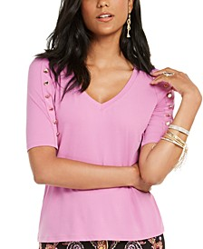 Button-Sleeve V-Neck Top, Created for Macy's