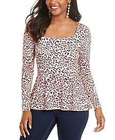 Printed Embellished-Neck Peplum Jersey Top, Created for Macy's