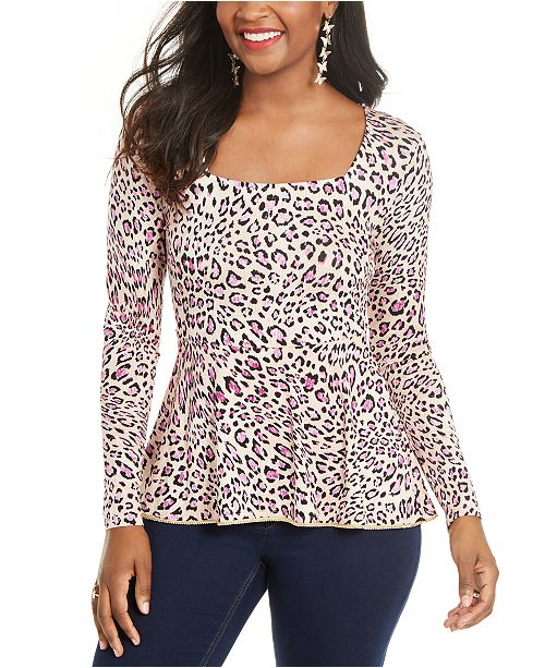 Thalia Sodi Printed Embellished-Neck Peplum Jersey Top, Created for Macy's