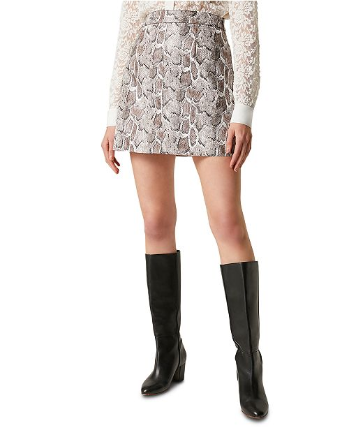 French Connection Elias Faux-Leather Snake Printed Mini Skirt