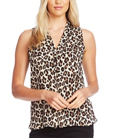 Vince Camuto Leopard Print Inverted-Pleat Top