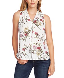 Vince Camuto Floral-Print Inverted-Pleat Top