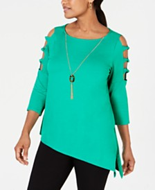 JM Collection Asymmetrical-Hem Ladder-Sleeve Top, Created for Macy's
