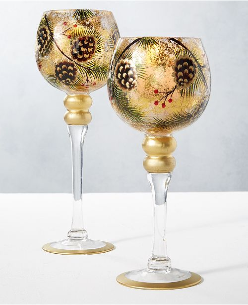 Home Essentials CLOSEOUT! Holiday Pine Cone Tall Votive Holders, Set of 2