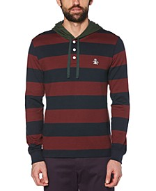 Men's Hooded Stripe Rugby Shirt