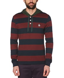 Original Penguin Men's Hooded Stripe Rugby Shirt