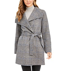 Plaid Wing-Collar Wrap Coat