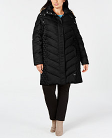Kenneth Cole Plus Size Faux-Fur-Trim Hooded Puffer Coat