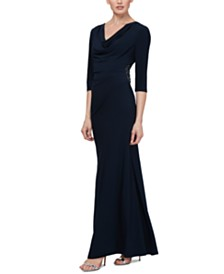 SL Fashions Petite Cowl-Neck Gown