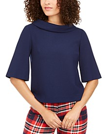 Kailee Foldover Mock-Neck Top