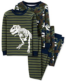 Little & Big Boys 4-Pc. Cotton Dinosaurs Pajamas Set