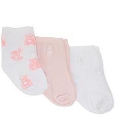 Baby Girls 3-Pk. Tossed Horse & Bear Crew Socks
