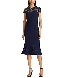 Lauren Ralph Lauren Lace-Panel Jersey Gown
