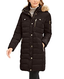Michael Michael Kors Faux-Fur-Trim Hooded Down Puffer Coat, Created For Macy's