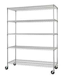 5-Tier Heavy Duty Wire Shelving Rack with NSF Includes Wheels
