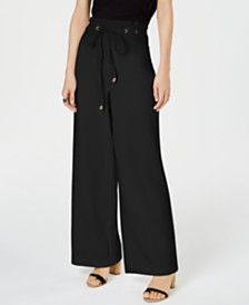 I.N.C. Wide-Leg Paperbag Pants, Created for Macy's