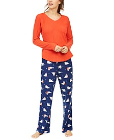 Ribbed Sleep Top & Novelty Sleep Pants, Created for Macy's